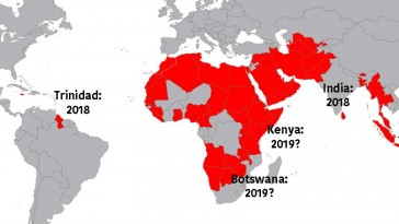 India and Trinidad overturned their anti-gay laws in court this year. Kenya and Botswana might do the same next year.