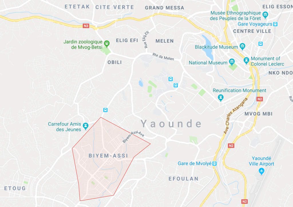 The location of the Biyem Assi district in Yaoundé, Cameroon. (Map courtesy of Google Maps)