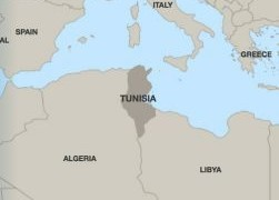 Location of Tunisia in northern Africa.
