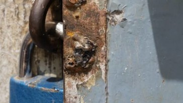 Vandals removed the lock from the front door of AJSG's office in Garoua. (Photo courtesy of AJSG)