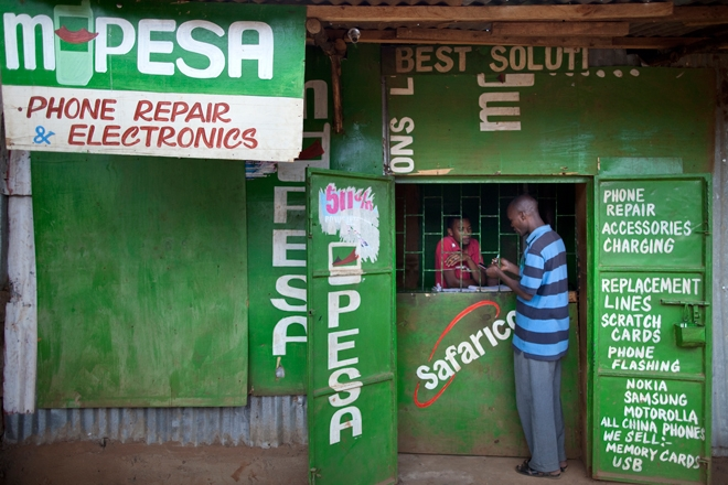 Kenyan shop specializes in Safaricom's mobile money, mPesa. (Photo courtesy of MobilePaymentsWorld.com)