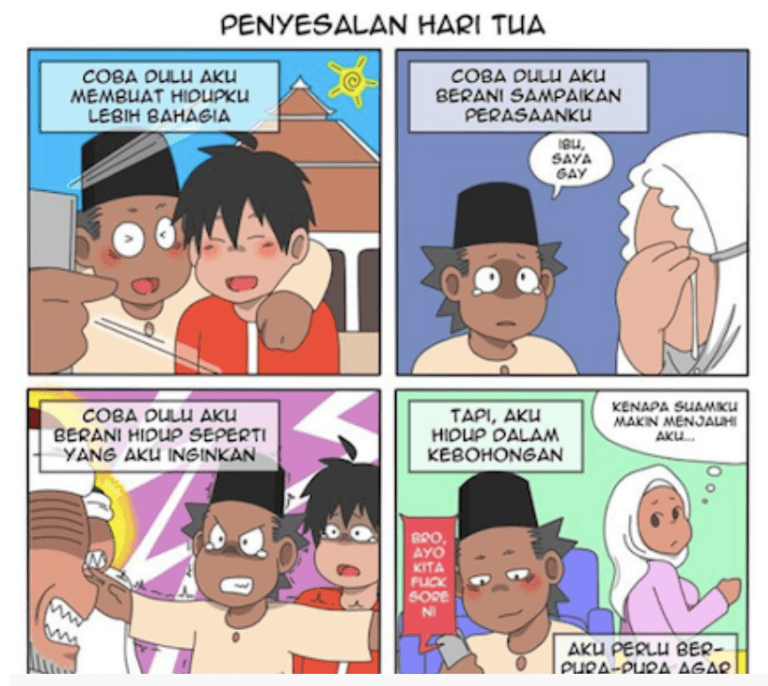 In this cartoon from @Alpantuni, a man tells of his regret at not coming out to his family and friends. He married but is living a lie and is distant from his wife. (Cartoon courtesy of @Alpantuni and Coconuts)