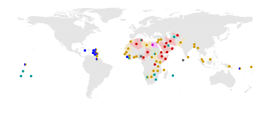 Human Rights Watch map pinpoints 69 countries with anti-gay laws. Different colors indicate different sentences the countries threaten, up to a death sentence, in black. (Click the image to see the HRW report.)
