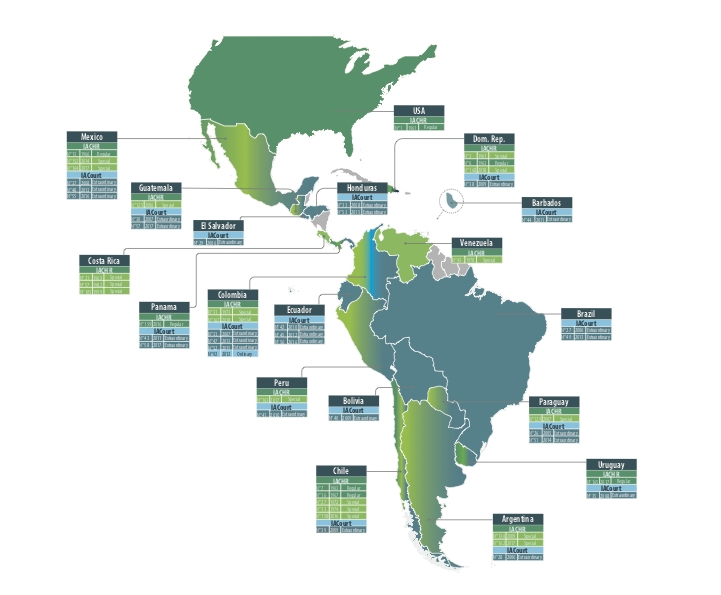 Locations of meetings of the Inter-American Commission on Human Rights (IACHR) and the Inter-American Court of Human Rights outside their headquarters in Washington, D.C. (Map courtesy of UniversalRights.org)