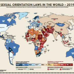 ILGA's 2019 map of sexual orientation laws shows which nations have (1) legal protection against discrimination based on sexual orientation, (2) laws against consensual same-sex sexual acts between adults, (3) legal recognition of families with same-sex parents, and (4) legal barriers to the exercise of rights.