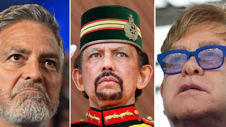 Celebrities George Clooney and Elton John (left and right), are boycotting hotels controlled by the Sultan of Brunei Hassanal Bolkiah (center). (Photo combination courtesy of Japan Times)