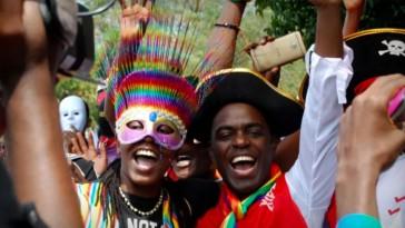Celebrating Pride in Uganda — before the police arrived. (Photo courtesy of SMUG)