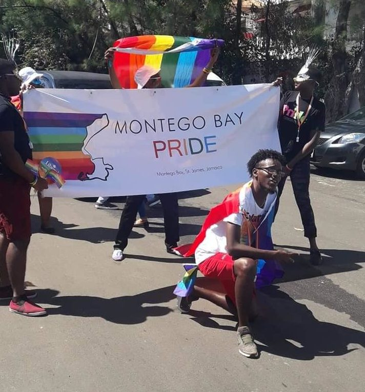 Pridegoers at start of Montego Bay Pride Walk for Rights