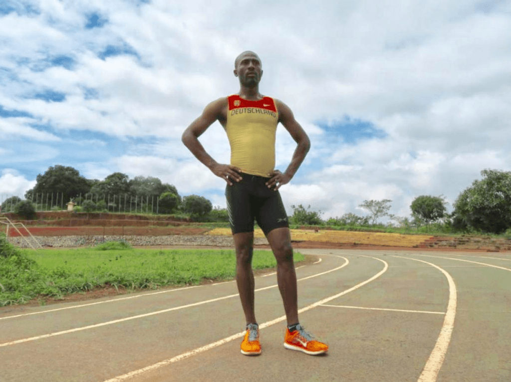Athlete Thierry Essamba training in a stadium in Yaounde, Cameroon on October 25, 2019. (Thomson Reuters)