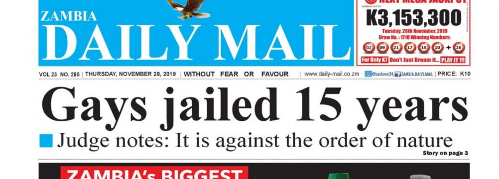 The 15-year sentence was Page 1 news in Zambia.