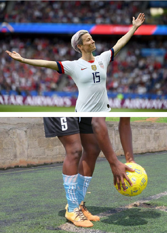 Victorious Megan Rapinoe (above), Stenie still training after her team ousted her (below). (Stenie's photo is courtesy of Thomson Reuters)