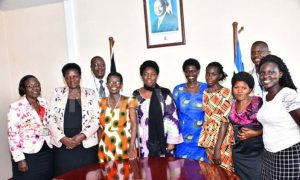 An example of earlier consultations between politicians and Ugandans living with HIV: Parliament Speaker Rebecca Kadaga (5th from left) meets a delegation of people living with HIV/AIDS in Kampala led by the National Forum of People Living with HIV/AIDS Networks in Uganda.