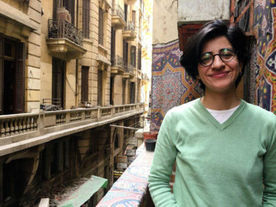 Sara Hegazy in Cairo, Egypt, after being released from jail in 2018.