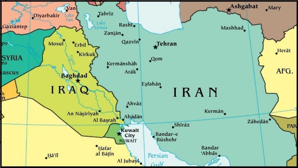 Map of Iran and Iraq