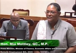 """Barbados Prime Minister Mia Mottley tells parliament that """"all are welcome"""" in the """"Welcome Stamp"""" program. (Photo courtesy of YouTube)"""