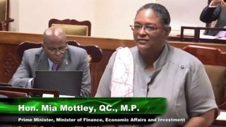 "Barbados Prime Minister Mia Mottley tells parliament that ""all are welcome"" in the ""Welcome Stamp"" program. (Photo courtesy of YouTube)"