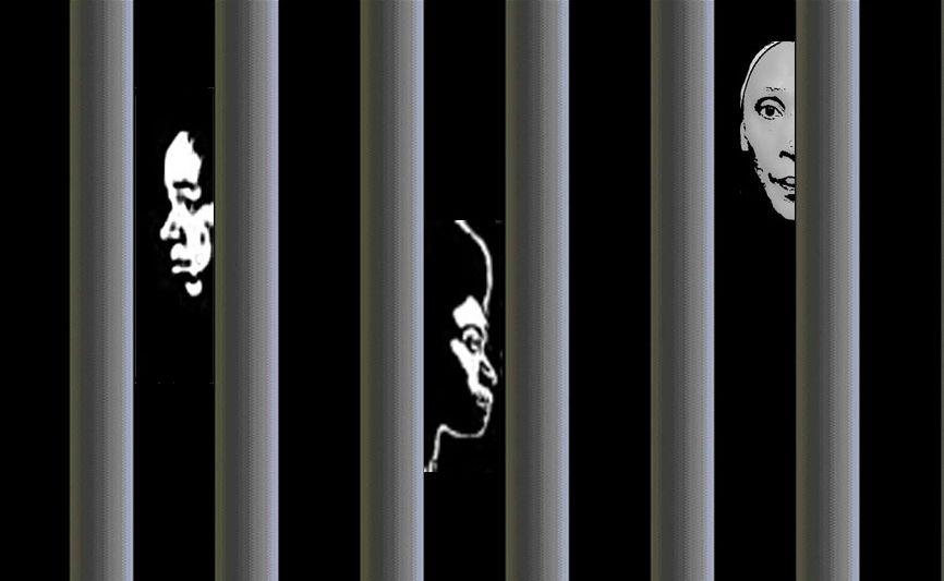 Image of three women behind bars represents the two lesbians and one trans woman being helped by the Not Alone Project.