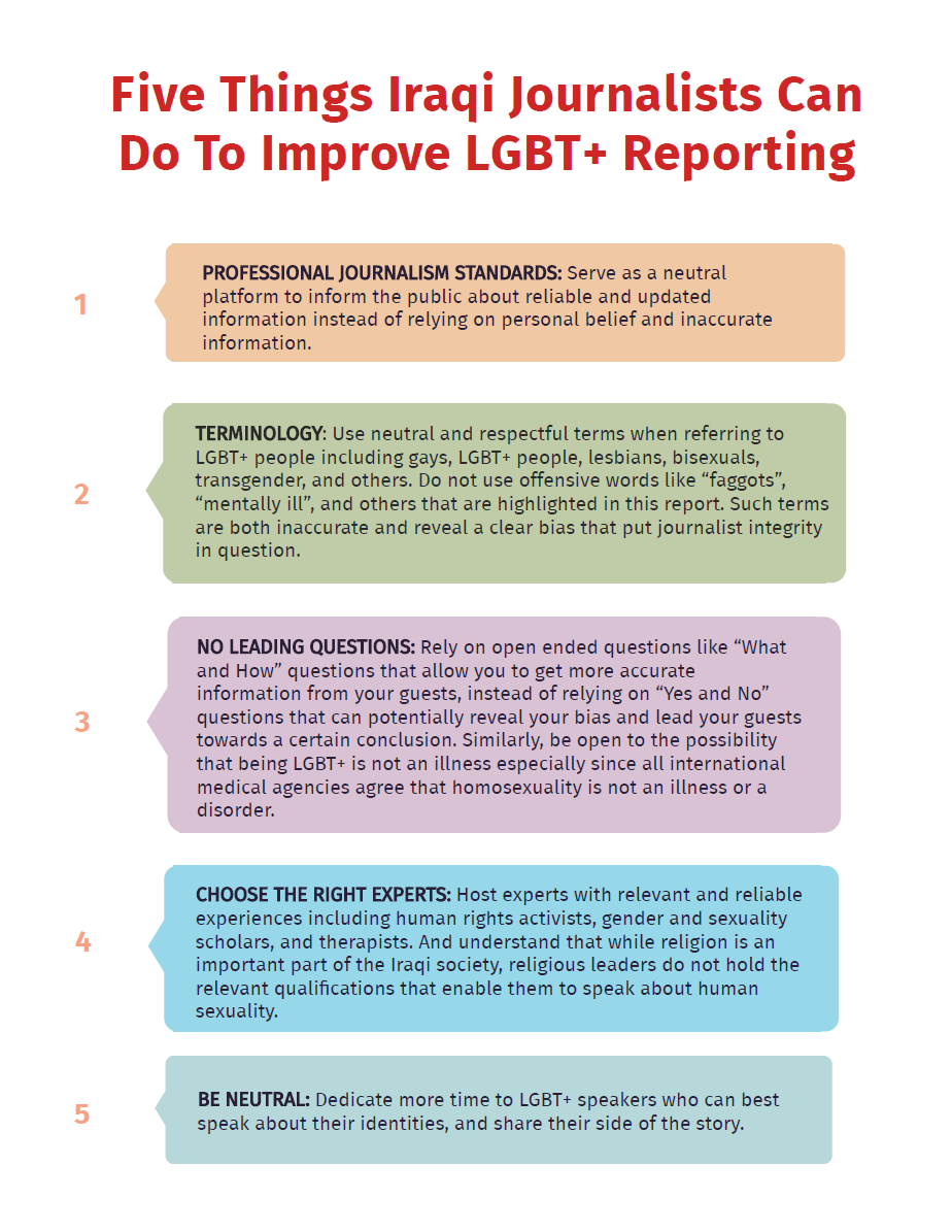 IraQueer outlines five necessary steps that journalists and news outlets can take to improve LGBTQ+ representation.