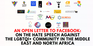 Twenty-two Middle Eastern and North African LGBTQ+ organizations called for regulations on hate-speech on Facebook.