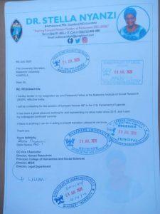 Stella Nyanzi's resignation letter