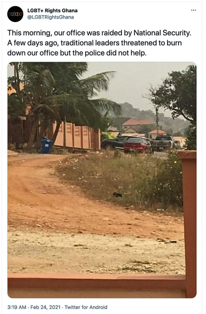 This tweet by LGBT+ Rights Ghana announced the police raid on its new safe house and offices.