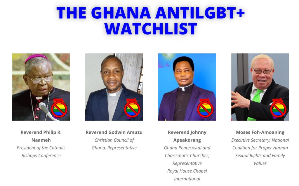 These men are the first of 21 anti-LGBT leaders listed on the Ghana Anti-LGBT+ Watchlist site as targets for a boycott.