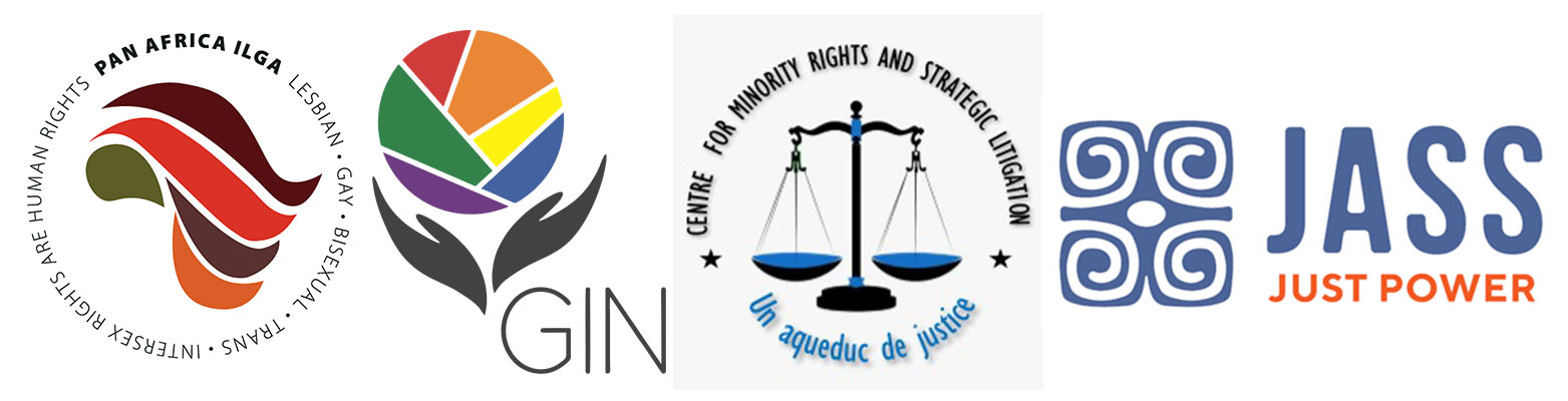 Logos of four members of the collective -- Pan Africa ILGA, the Global Interfaith Network, Centre for Minority Rights and Strategic Litigation, and Just Associates.