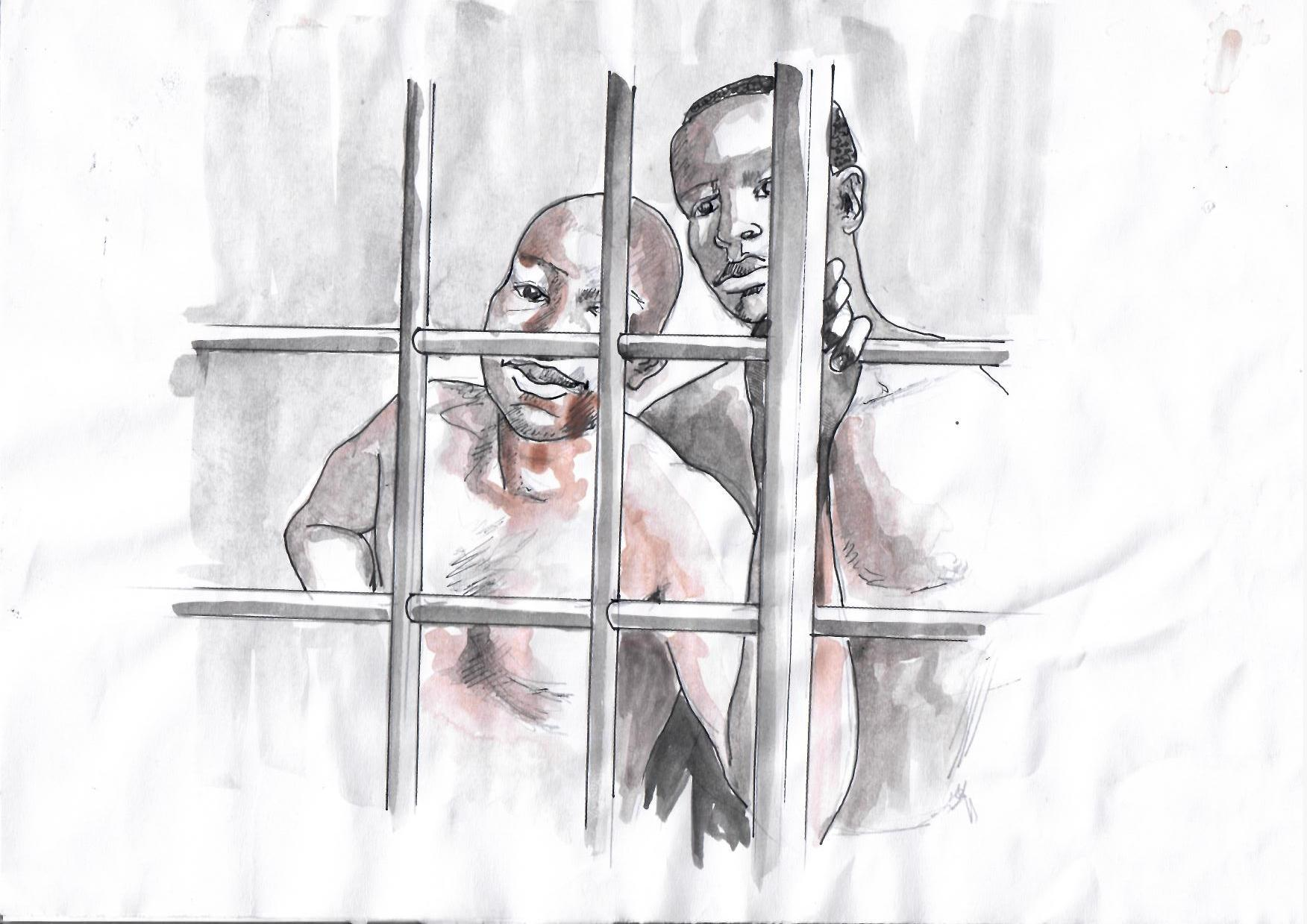 CLICK IMAGE TO DONATE TO FREE FORD AND BILL. Illustration by Vincent Kyabayinze, East Africa Visual Artists (EAVA Artists)